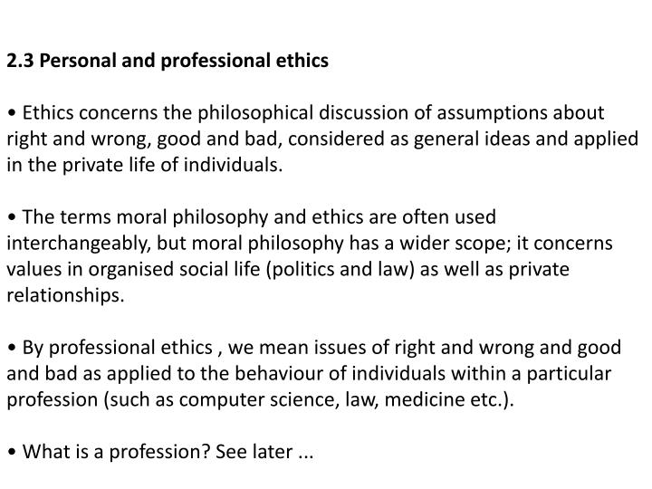 2.3 Personal and professional ethics