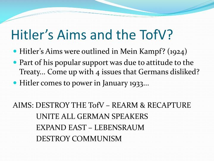 Hitler's Aims and the
