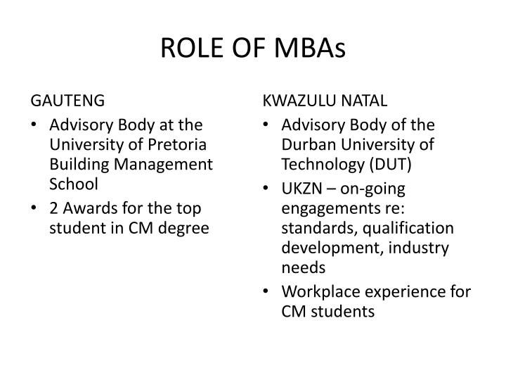 ROLE OF MBAs