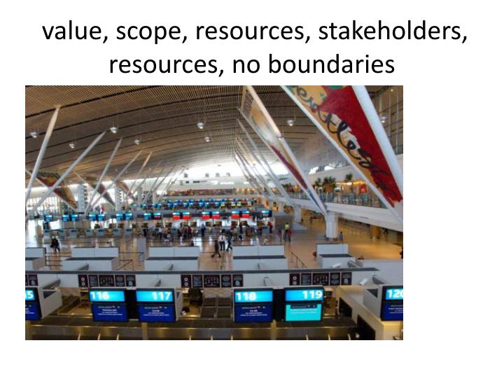 value, scope, resources, stakeholders, resources, no boundaries