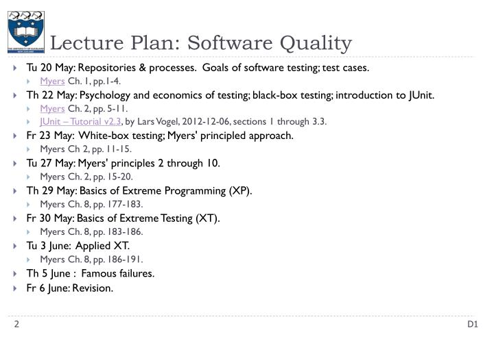 Lecture Plan: Software Quality