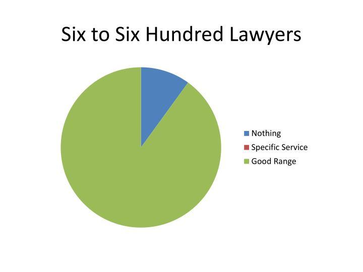 Six to Six Hundred Lawyers