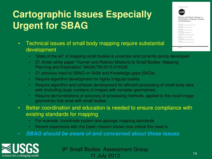 Cartographic Issues Especially Urgent for SBAG