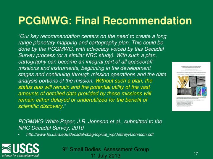 PCGMWG: Final Recommendation