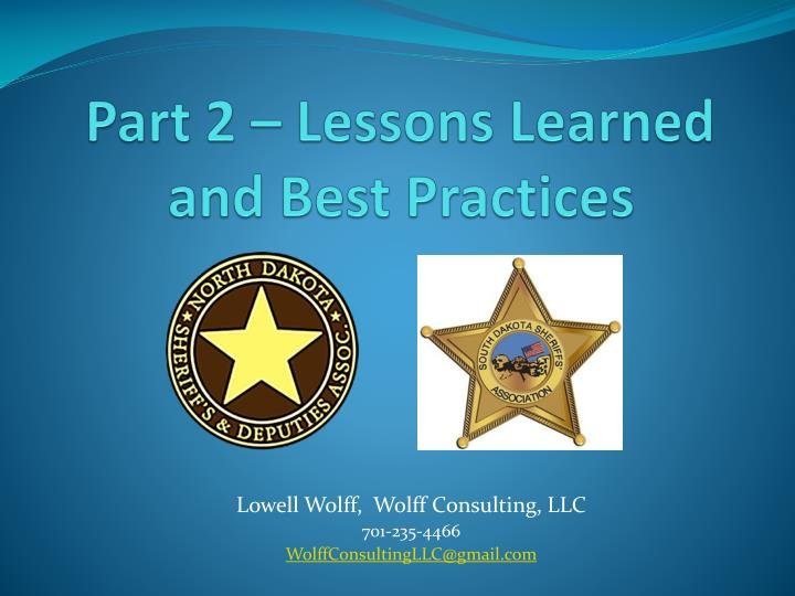 Part 2 lessons learned and best practices