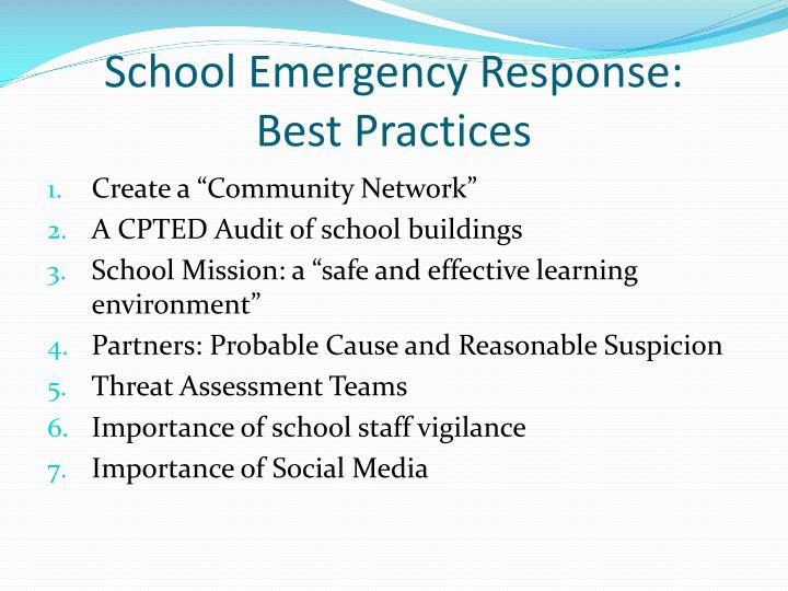 School emergency response best practices