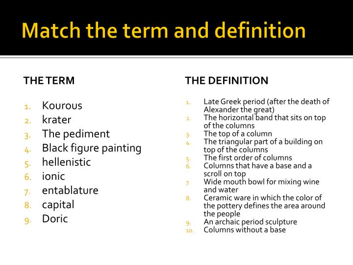 Match the term and definition