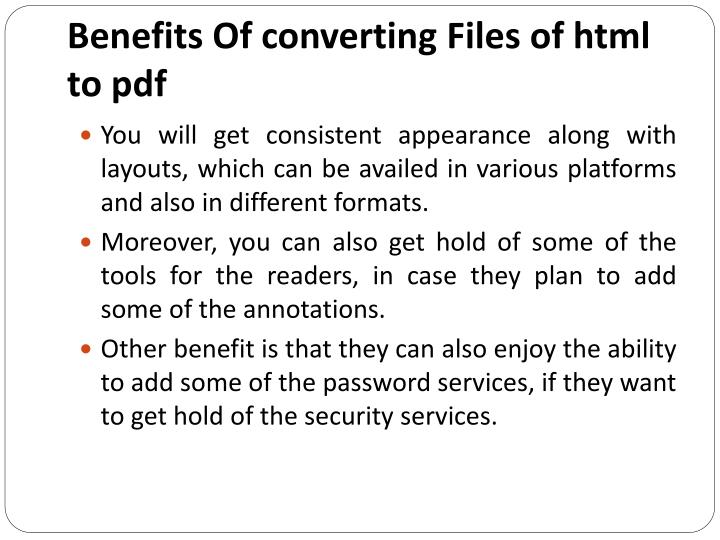 Benefits Of converting Files of html to pdf