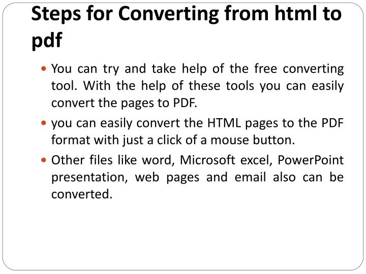 Steps for Converting from html to pdf