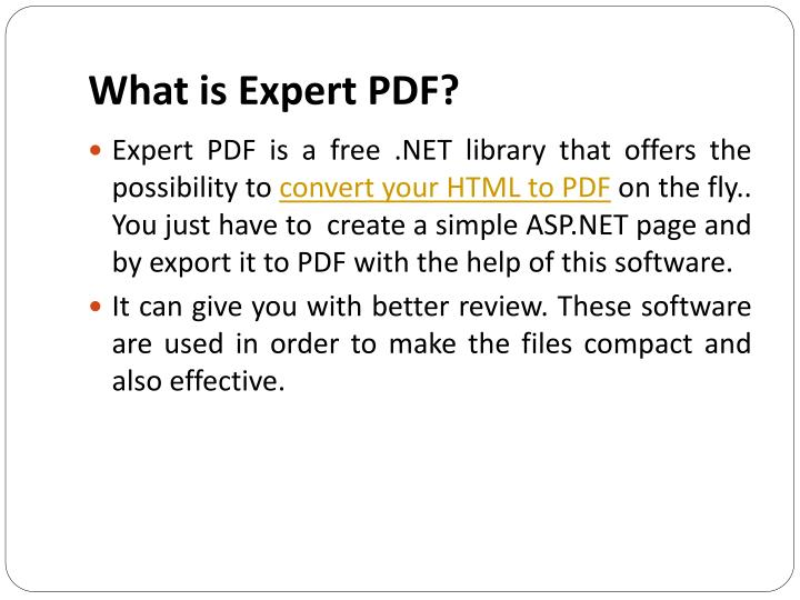 What is Expert PDF?