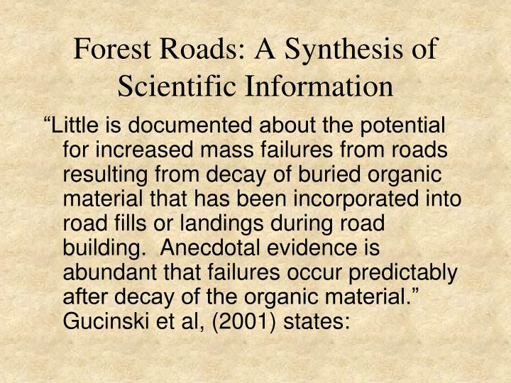 Forest Roads: A Synthesis of Scientific Information