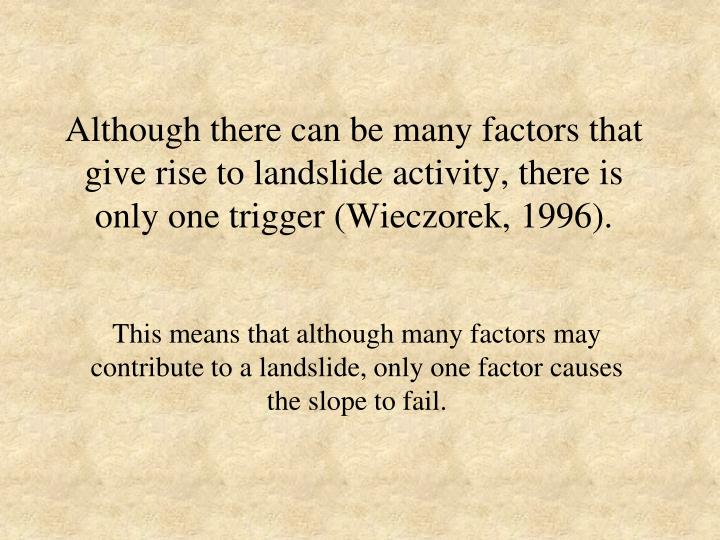 Although there can be many factors that give rise to landslide activity, there is only one trigger (Wieczorek, 1996).