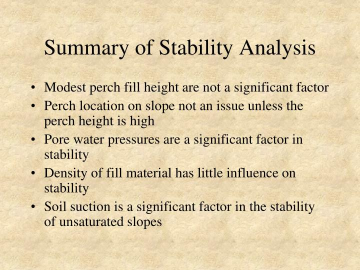 Summary of Stability Analysis