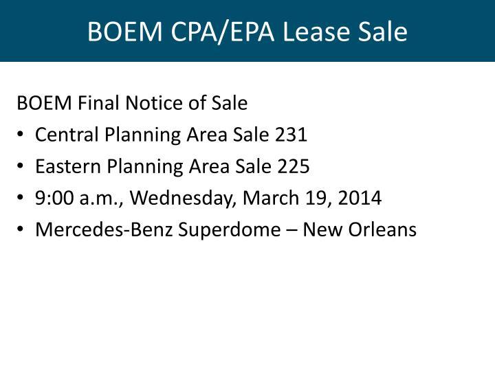 BOEM CPA/EPA Lease Sale