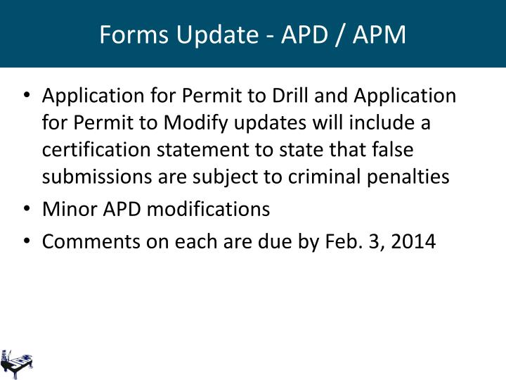 Forms Update - APD / APM