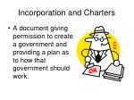 incorporation and charters