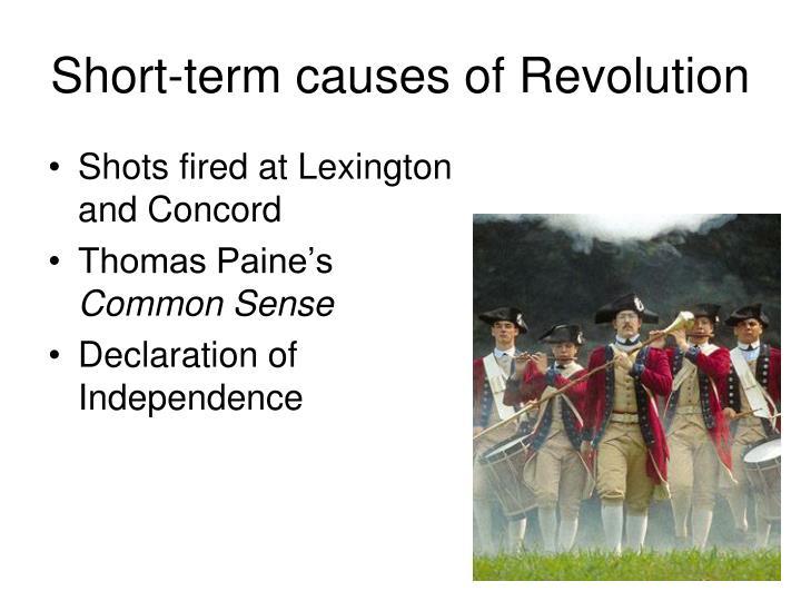 Short-term causes of Revolution