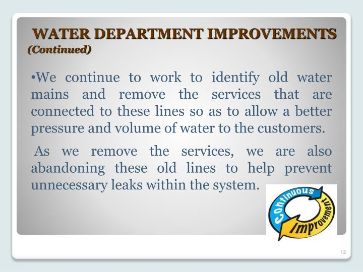 WATER DEPARTMENT IMPROVEMENTS