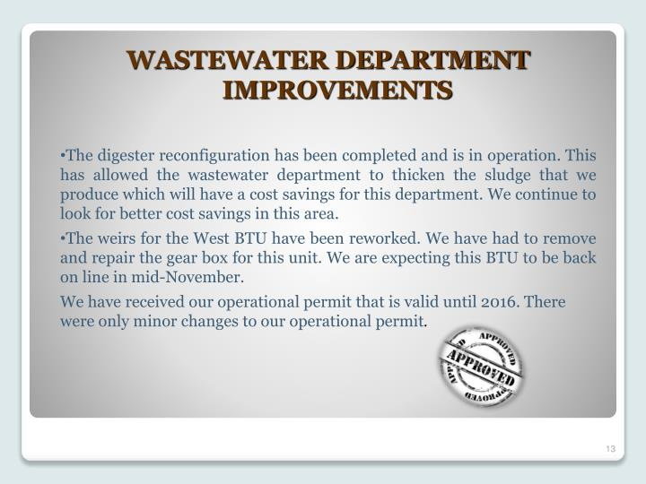 WASTEWATER DEPARTMENT IMPROVEMENTS
