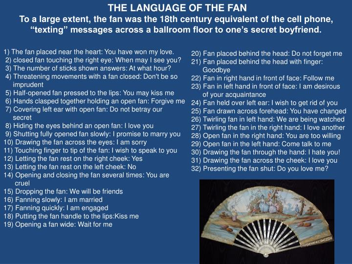 THE LANGUAGE OF THE FAN