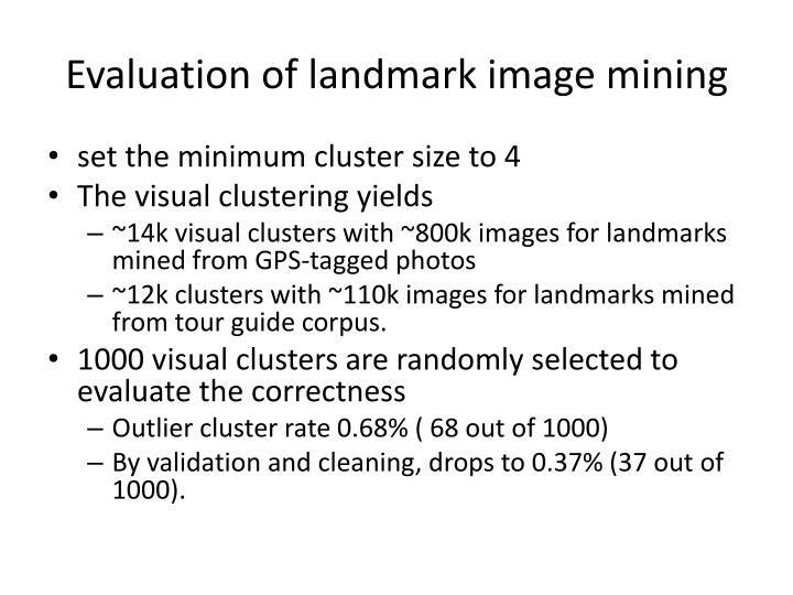 Evaluation of landmark image mining