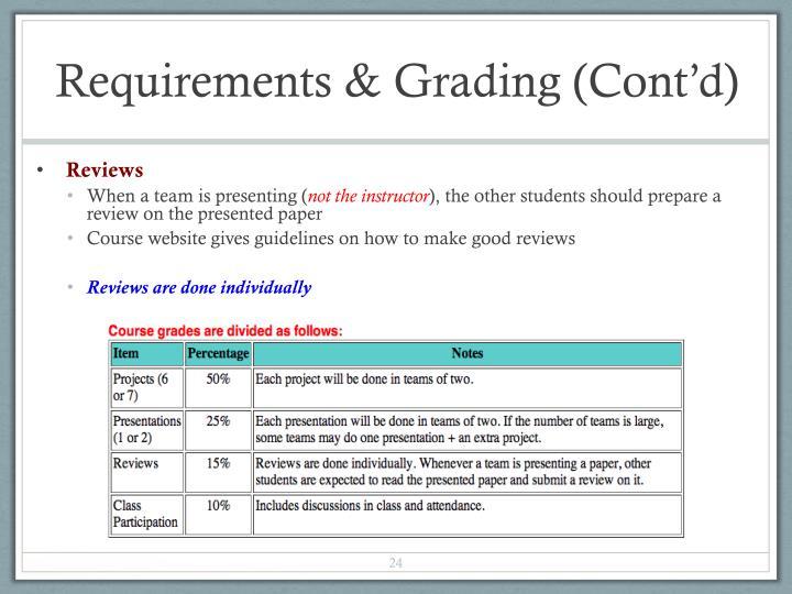 Requirements & Grading (Cont'd)