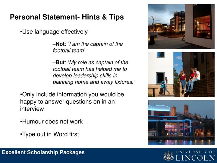 Personal Statement- Hints & Tips