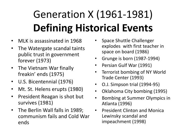 Generation x 1961 1981 defining historical events