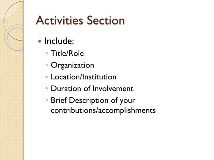 Activities Section