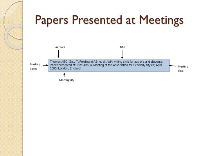 Papers Presented at Meetings