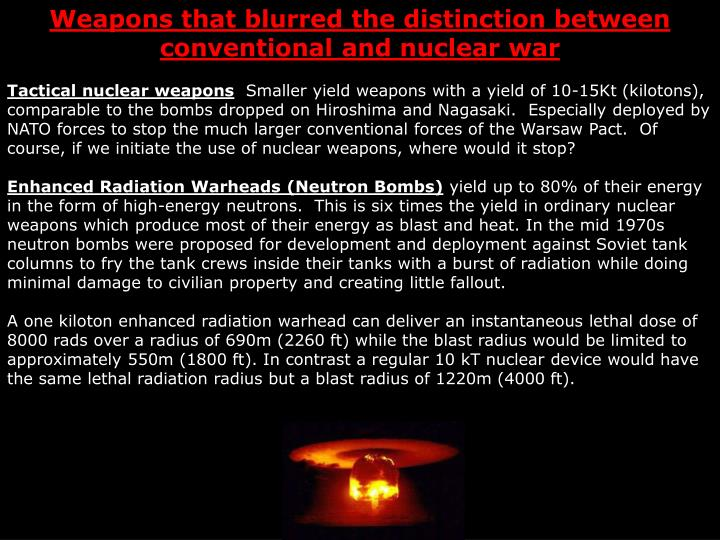 Weapons that blurred the distinction between conventional and nuclear war