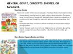general genre concepts themes or subjects