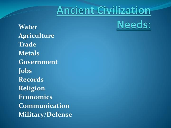 Ancient Civilization Needs: