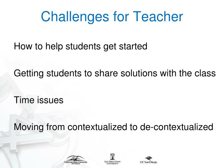 Challenges for Teacher