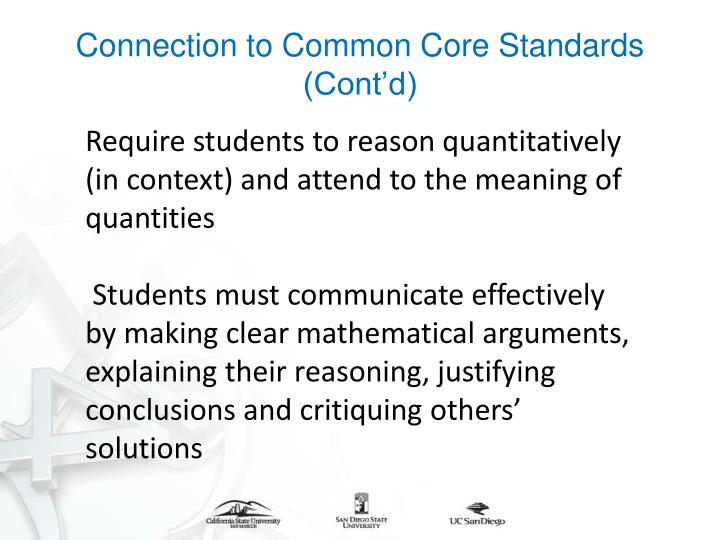 Connection to Common Core Standards (Cont'd)