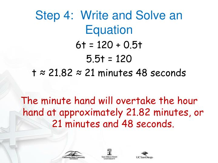 Step 4:  Write and Solve an Equation