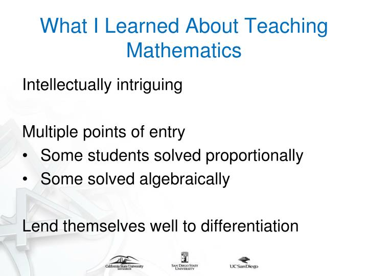 What I Learned About Teaching Mathematics