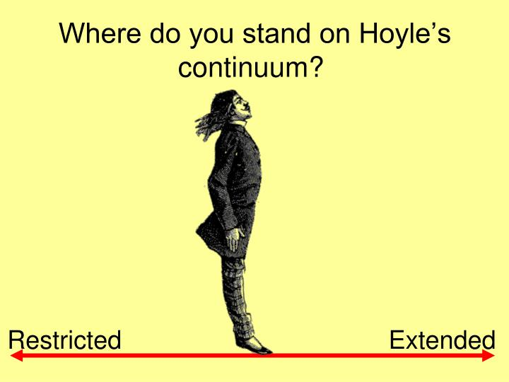 Where do you stand on Hoyle's continuum?