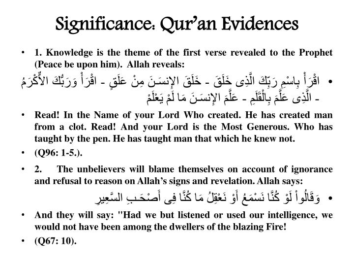 Significance: Qur'an Evidences