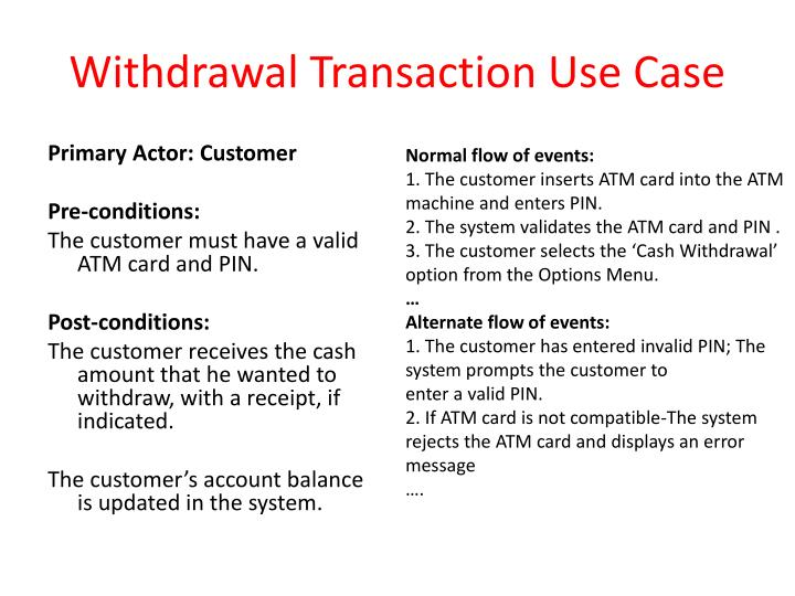 Withdrawal Transaction Use Case