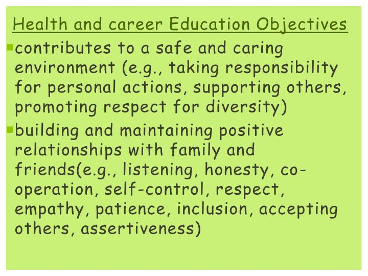 Health and career Education Objectives