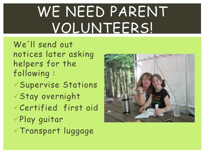 We need parent volunteers!