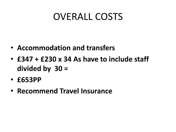 OVERALL COSTS