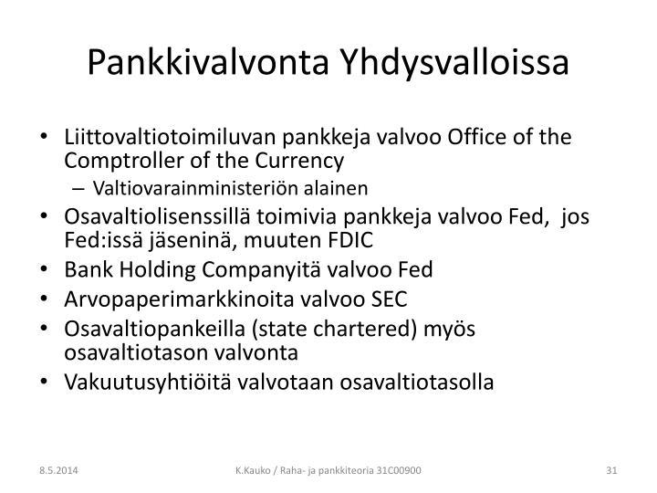 Pankkivalvonta Yhdysvalloissa