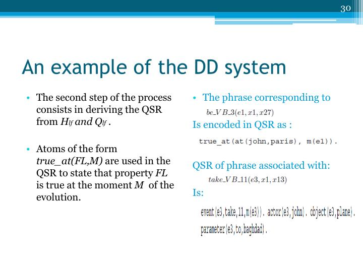 An example of the DD system