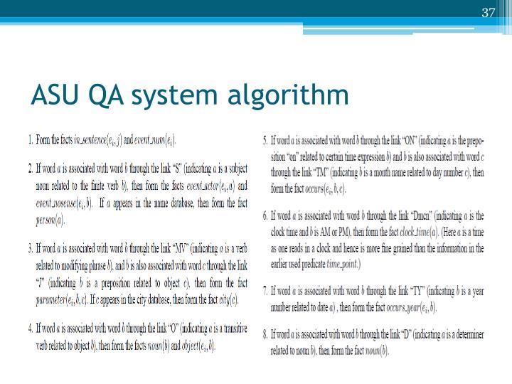 ASU QA system algorithm
