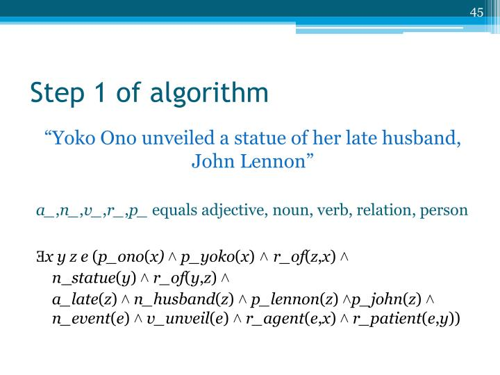 Step 1 of algorithm