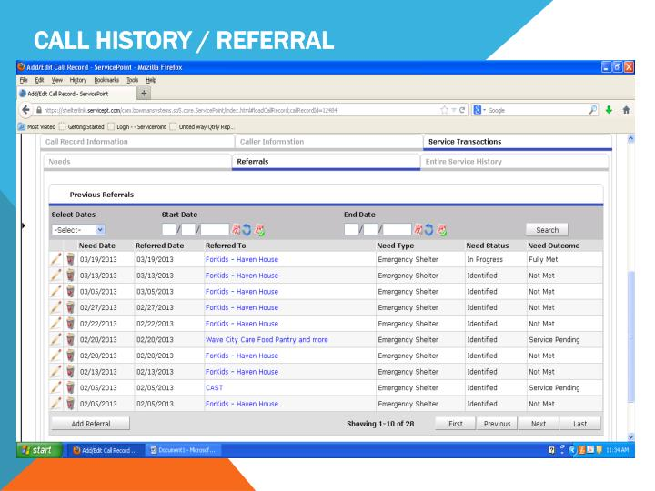Call History / Referral