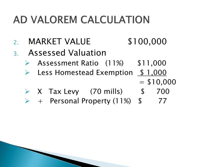AD VALOREM CALCULATION