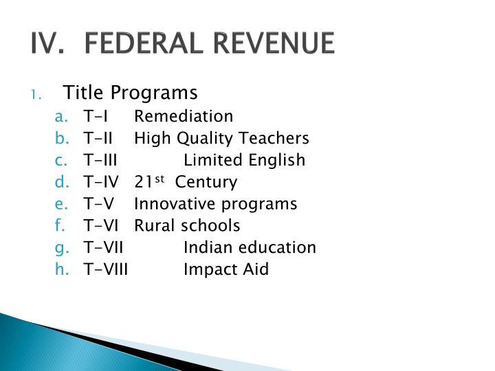 IV.  FEDERAL REVENUE